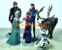 Cartoon 10/lot Frozen Queen  Elsa Princess Anna  Hans  Kristoff  PVC Figure  Children Toy (6pcs/set ) Free Shipping Wholesale