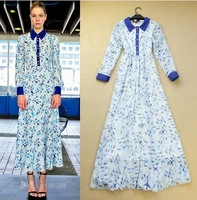 New 2014 Fashion Designer Long Dress Women's Colourful Floral Print Turn-down Collar Elegant Maxi Dress Full Dress