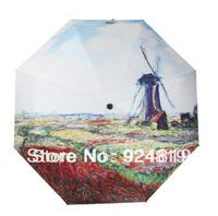 2014 new free shipping fashion oil painting (Holland windmill) folding Anti UV umbrella sun protection umbrella