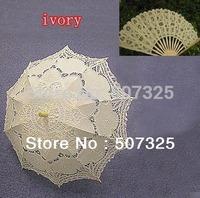 Promotion!! Fashion Wedding Sun Batten Lace Bridal Umbrella Parasol + Lace Fan, 10Sets/LOT, 3 Colors To Pick