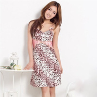 Women's Sexy Leopard Print Sleepwear Silk Nightgowns Lounge Lace Sleepshirt