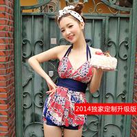 Free Shipping Plus size women's split swimwear small push up swimsuit hot springs dress
