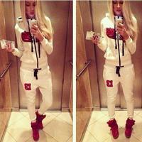 2014 Women New autumwinter Sportswear BlackStarTimati Print SweatshirtSet  Sport Suit  Hoodie hot sale