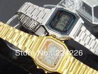10pcs/lots Fashion LED sports watch foreign trade wristwatch 91w steel belt of thin digital watch f91 & A159