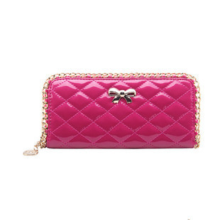 The new female purse female long chain of candy-colored patent leather wallet purse Spiraea Quilted handbags wholesale factory(China (Mainland))