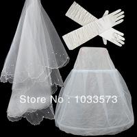 W-13 Hot sale Cheapeat 3 Pieces Set Hoop Wedding Bridal Gown Dress Petticoat Underskirt Crinoline Wedding Accessories
