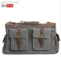 2014 Fashion Travel duffel Tote Leather + Canvas luggage Handbag portable travel bag large capacity unisex Free Shipping