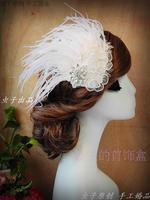 Handmade lace bride hair accessory rhinestone feather hair accessory vintage hair accessory veil white wedding dress accessories