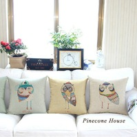 2014 NEW Cute Owl  pillow Linen cotton pillow cover/ cushion cover  sofa cushion decoration pillow 45cm*45cm 4pcs/set