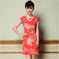 2014 elastic ice silk women dress / women clothing gorgeous slim short-sleeve one-piece dress spring summer Free shipping
