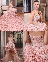 AWL3525 New Arrival Feathers Pink Front Short Long Back Wedding Dress salomon Alibaba vestido de noiva 2014