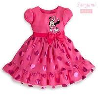 2014 New  Summer baby girls princess dresses baby cartoon Minnie Mouse short sleeve dress 5pcs/1lot Wholesale free shipping