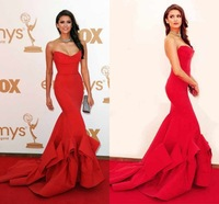 2014 Red Nina Dobrev Red Dress Mermaid Sweetheart Ruffle Sexy Evening Dresses New Cheap Red Carpet Dresses Prom Dresses
