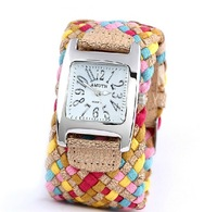 [77 Fashion] PL038 Promotion Fashion Korea Rope Watch Braided Leather Cord bracelet watch.Lady watch. Free Shipping