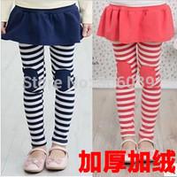 New 2014 autumn winter   child thickening pants plus velvet stripe legging girls pencil pants  girls legging