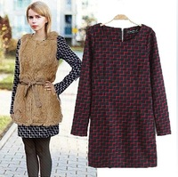 2014 New Fashion spring long-sleeve basic check slim waist one-piece dress short skirt women's one-piece dress female