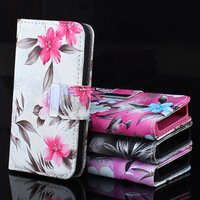 Magnetic Leather Flip Flower Wallet Purse Handbag Case Cover For iPhone 4G 4S Free Shipping