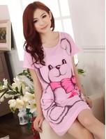 Nightie Summer Pink/gray Women Sleep Dress Lovely Bear Cartoon Nightgown Short Sleeve Nightwear Collegue Students Loungewear
