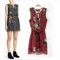 Fashion 2014 spring fashion dress flower print plaid one-piece dress vest one-piece dress