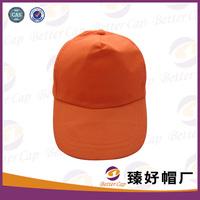 whole sale blank logo orange color polyester plastic back cheap 5 panel baseball cap
