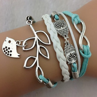 Min. is 10$ Infinity, Owls & Lucky Branch/Leaf and Lovely Bird Charm Bracelet in Silver - Mint Green Wax Cords and Leather Braid