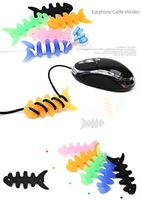 50pcs/lot  Fishbone Style Winder 7 Colors Mixed for MP3 for iPhone 4/4s/5/5s/5c Headist Winder