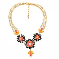 Fashion fashion accessories double layer chain flower pendant necklace