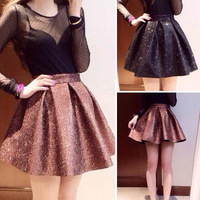 Spring solid color diamond high waist bust skirt short skirt female q0142