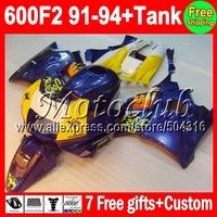 7gifts+Tank 100%NEW For HONDA CBR600F2 91-94 CBR600 CBR 600 F2 600F2 FS JOSE CAMEL blue 91 92 93 94 1991 1992 1993 1994 Fairing