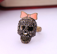 Fashion accessories bow women's black diamond skull ring