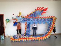 3 JOINT colorful golden brand new dragon dance mascot costume china special culture holiday party