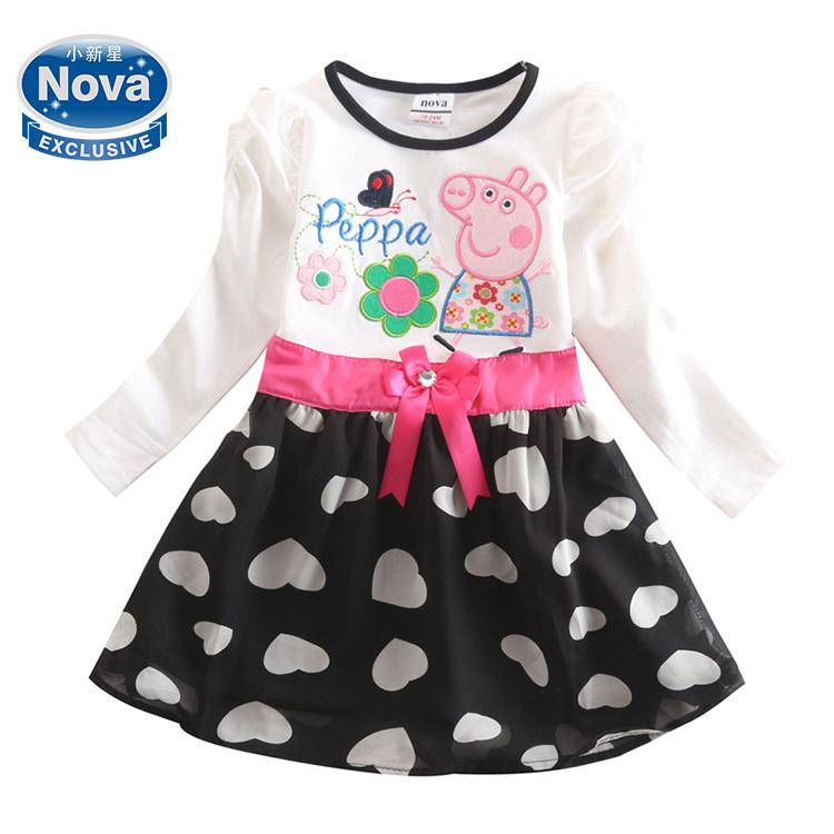 Versandkostenfrei 2014 heißer verkauf baby mädchen kleider gedruckt schöne peppa pig stickerei sommer party-kleid baby mädchen baumwollkleid