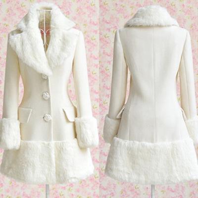 Бренд тёплый благородный характер белый мех воротник длинная шерстяная ткань пальто для женщины, Зима приталенный верхняя одежда женщины в одежда