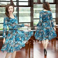 Plue Size S-XXXL Long Sleeve Dresses New Fashion 2014 Winter and Autumn Casual Dress Print Dress Chiffon Dress Sale Items 8306