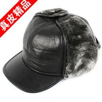 2013 mink hair quinquagenarian male genuine leather hat for man thickening warm hat ear sheepskin cap