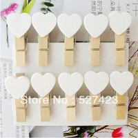 Free shipping 35mm white heart photos  wedding mini clip LOVE HEART Wooden Mini Clip Wood Pegs Kids Crafts Party Favor Supply