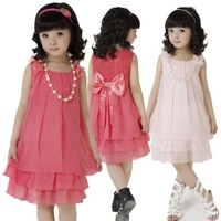 Retail 2014 New summer girls dress Chiffon Lace children Princess dress kid dancing  party clothing for kid free shipping