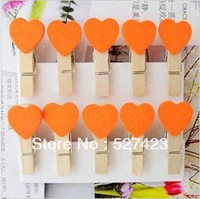 Free shipping 35mm orange heart photos  wedding mini clip LOVE HEART Wooden Mini Clip Wood Pegs Kids Crafts Party Favor Supply