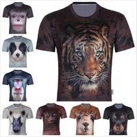 Free Shipping Cool Men's 3D animal Creative T Shirt,2014 New Fashion Three D Short Sleeve Tee Shirt S-6XL,Plus Size
