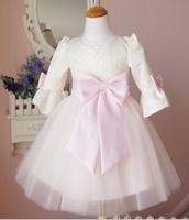 Female child three quarter sleeve princess dress child pink flower girl dress formal dress costume