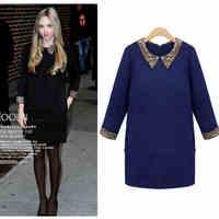 Fashion high quality plus size clothing spring mm slim turn-down collar one-piece dress skirt 1231 basic