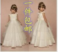 Female child bridesmaid princess flower dress performance wear child design long evening dress white