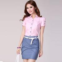women's summer career dress set short-sleeve shirt short skirt work wear skirt  free shipping