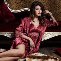 Sexy temptation emulation silk condole belt robe two-piece outfit sleep suit 3pcs pajama sets sleepwear plus size XXL JNA 20242