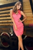 2014 new flouncing sexy low-cut V-neck halter dress Slim