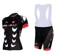 Free Shipping!2014 Castelli Women Cycling Sleeve Jersey Of  bib Shorts Sport Suit/Cycling wear/bike clothing