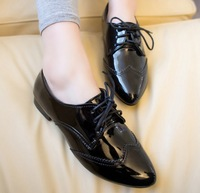2014 Free Shipping Point Toe Patent Leather Black and Wine Colors Oxford Flats Women Soft PU Casual Shoes Women BZY009