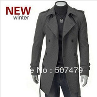 2014 Spring, Autumn and Winter Men's Fashion Long Sleeve Wool Coat Turn-down Collar Double-breasted Jacket Outerwear