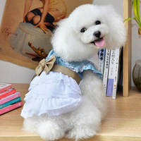 2013 new dog clothes pet clothes dog clothes Teddy pet washed denim skirt skirt