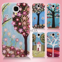 Free Shipping Colored Drawing England Countryside Style New Fresh Plastic Protective Back Cover Case for Samsung Galaxy S4 I9500